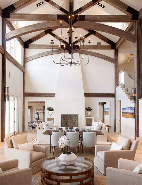 Living Room Ceiling Beams Inviting Interior Design House By Possum Kingdom Lake