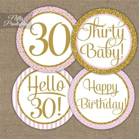 Printable 30th Birthday Cupcake Toppers   Pink Gold