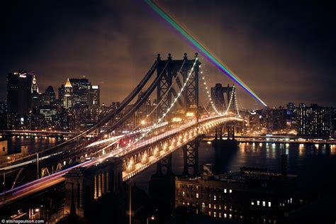 light exhibit nyc s rainbow lights up york city s skyline to