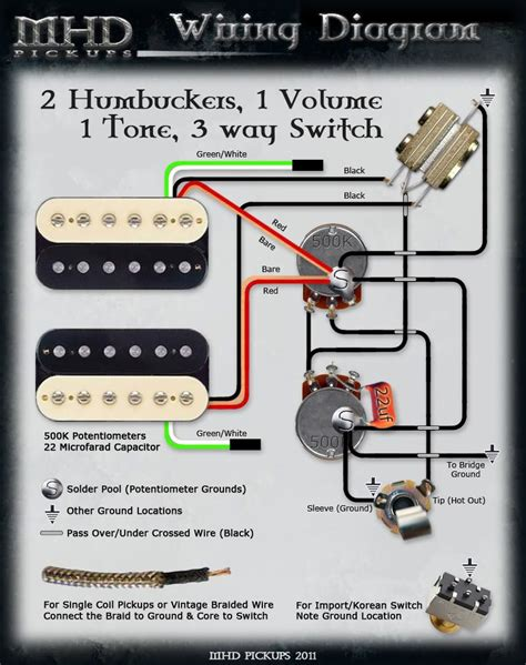 guitar wiring diagrams 2 2 volume 1 tone 2