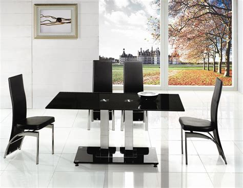 Glass Dining Room Tables And Chairs Chair Black Glass Dining Room Table And Chairs Alliancemv
