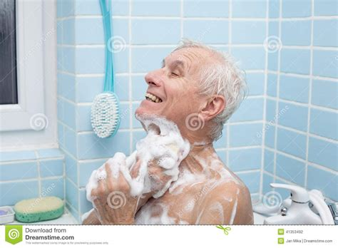 old man bathroom senior man bathing stock photo image 41353492