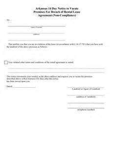 14 Day Eviction Notice Template by Arkansas 14 Day Notice To Quit Form Non Compliance