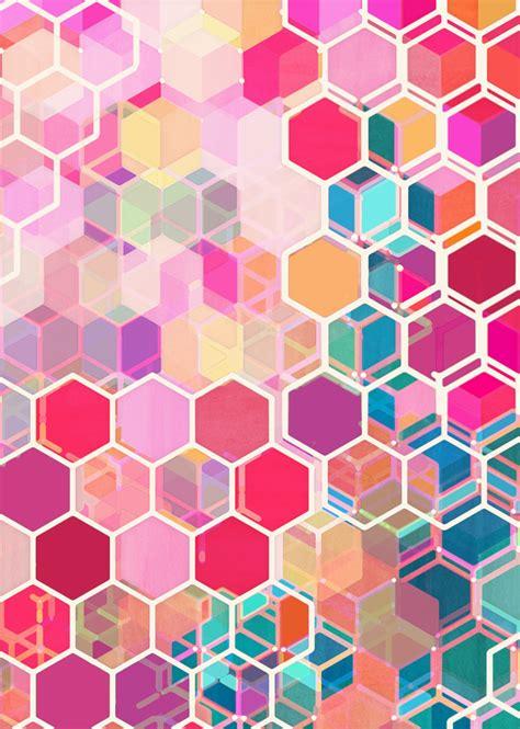 honeycomb pattern art rainbow honeycomb colorful hexagon pattern art print