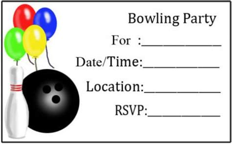 Bowling Birthday Card Template by Free Printable Invitations Lovetoknow