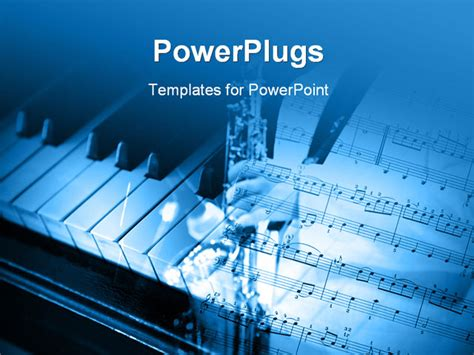 Power Point Themes Jazz | powerpoint template an open music note page and a piano