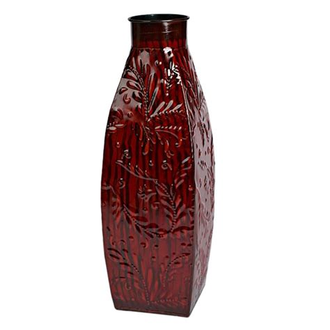 Lighted Vases by Gerson 40488 15 Quot Metal Vase With Flower Pattern