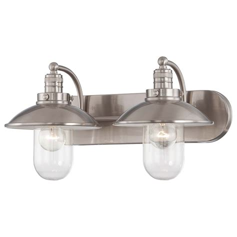 bathroom lighting fixtures brushed nickel minka lavery downtown edison brushed nickel two light bath