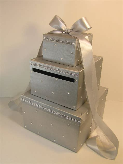 card box silver wedding card box gift card money card box by