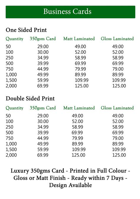 business card price list template business cards price list choice image card design and