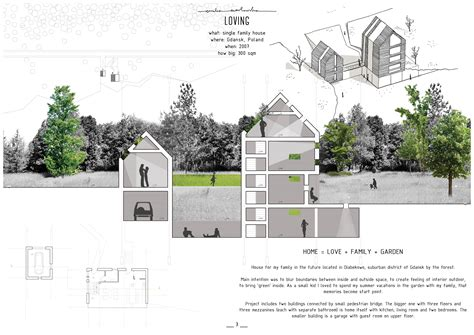 home design competition shows single family house presentation board house section