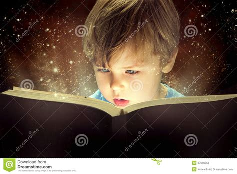 the magically brilliant boy books boy and the magic book stock photos image 37956753