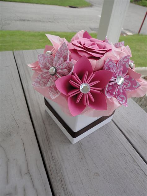 origami paper flower centerpiece kusudama pink small wedding