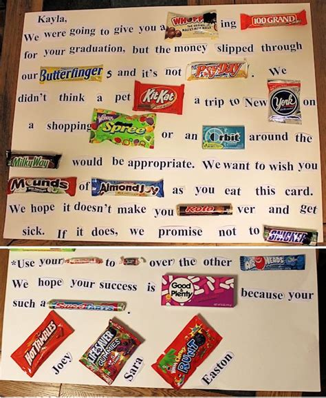 how to make a candy letter for a graduate graduation
