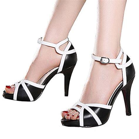 getmorebeauty s white black peep toes buckle dress