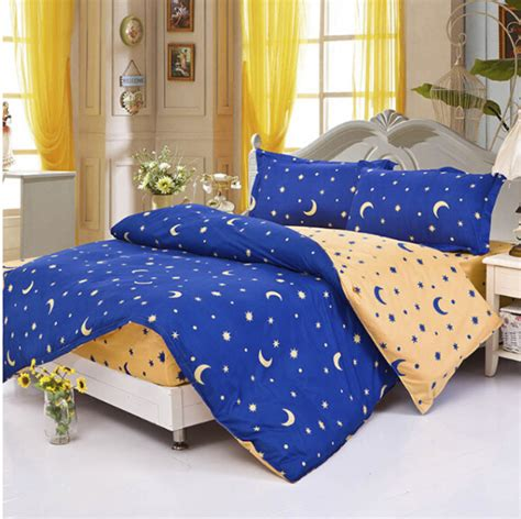 Yellow And Blue Bedding Sets 2015 New Mattress Sweet Cover Blue Yellow Moon Duvet Cover Comforter Bedding Set 4 Pcs