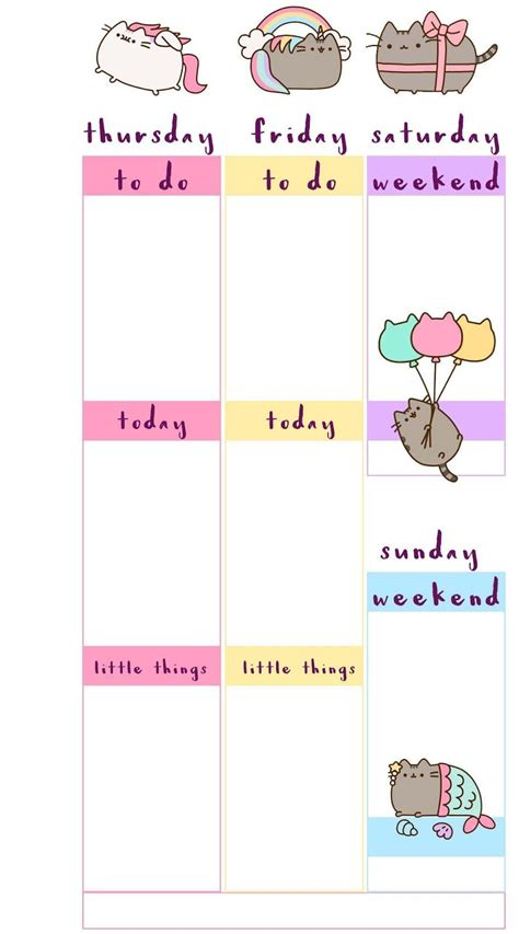 printable weekly planner inserts free printable pusheen inspired planner inserts week on 2
