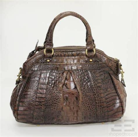 brahmin brown leather crocodile embossed leather