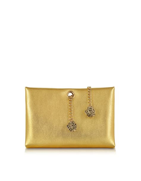 Roberto Cavallis Plain Patent Leather Clutch by Roberto Cavalli Orb Gold Metallic Leather Clutch W Frog
