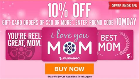 Fandango Gift Card Deals - 10 off fandango gift cards for mom full list of gift card deals 187 freebies for a cause