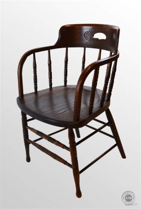 Antique Captains Chair by Antique Oak Nouveau Bow Captains Smokers