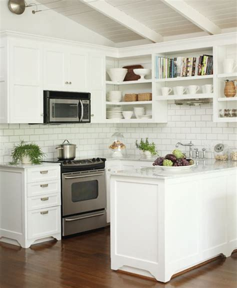 White Kitchen With Backsplash by White Subway Tile Backsplash