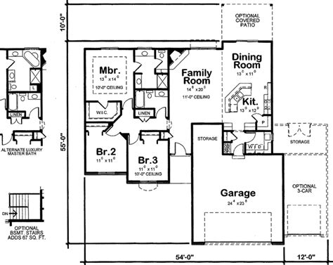 square kitchen floor plans traditional style house plans 1568 square foot home 1 story 3 bedroom and 2 bath 2 garage