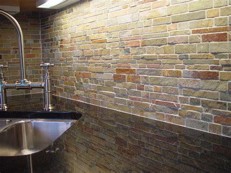 slate backsplash falling water design work and