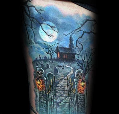 60 haunted house tattoo designs for men spooky spot ink