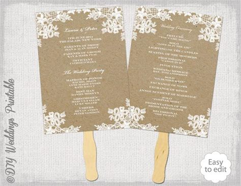 rustic wedding fan program template quot rustic lace quot diy