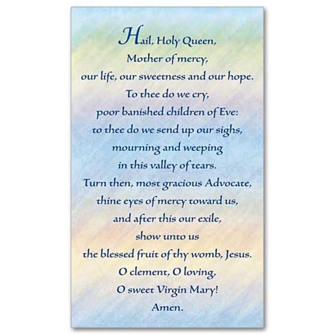 printable version of hail holy queen hail holy queen prayer card
