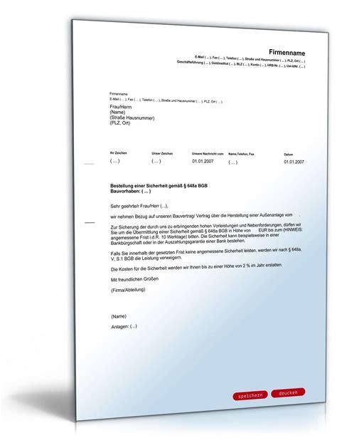 Muster Einladung Visum Privat Aufforderung Sicherheitsleistung Handwerker