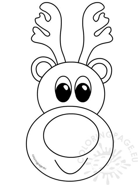 cute reindeer head cartoon outline coloring page