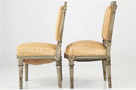 Louis Xvi Furniture by Pair Of Antique Louis Xvi Style Gray Painted Side Chairs 19th Century At 1stdibs