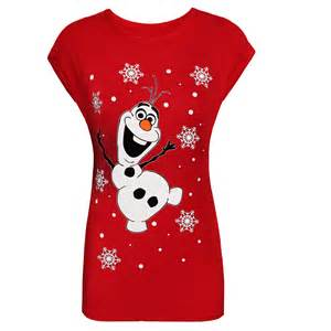 womens short sleeve tshirt top olaf kids xmas christmas