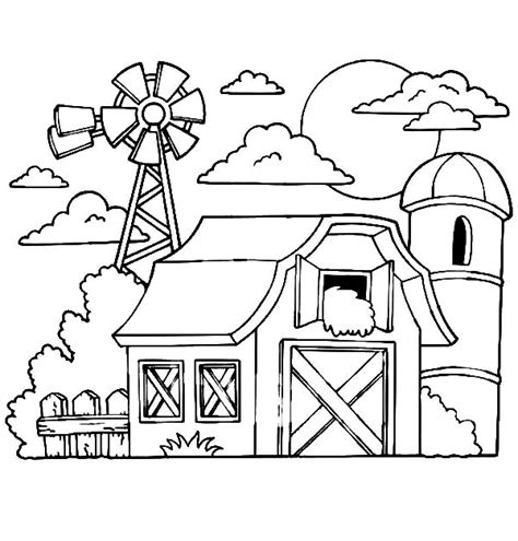 barn with hay in the loft a silo and windmills coloring