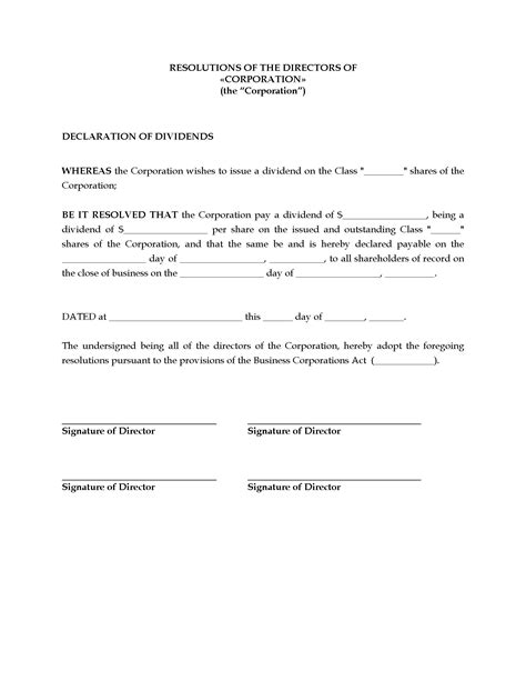 dividend certificate template canada directors resolution to declare dividends
