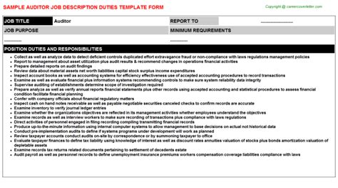 Auditor Duties And Responsibilities Resume by Auditor Descriptions Descriptions