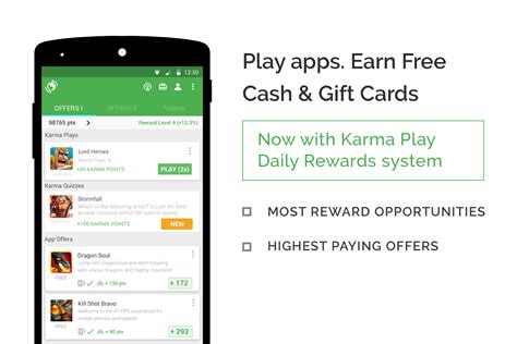 Google Play Gift Card Rewards - appkarma rewards gift cards android apps on google play