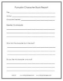 Completed Book Reports Pumpkin Book Report Freebie Simply Kinder