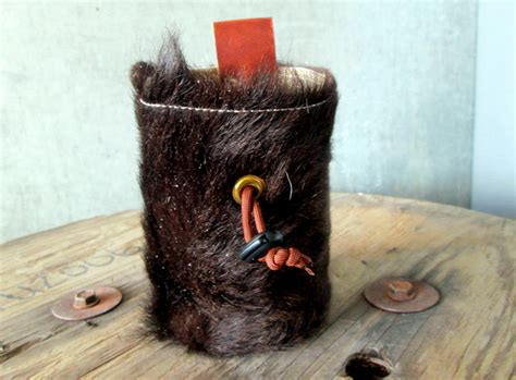 Handmade Chalk Bag - leather fur chalk bag line from climber