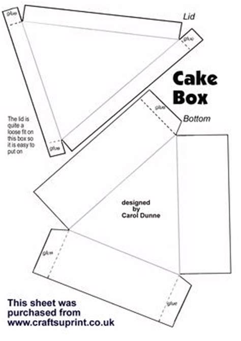 How To Make A Cake Box Out Of Paper - cake box template cup13638 173 craftsuprint