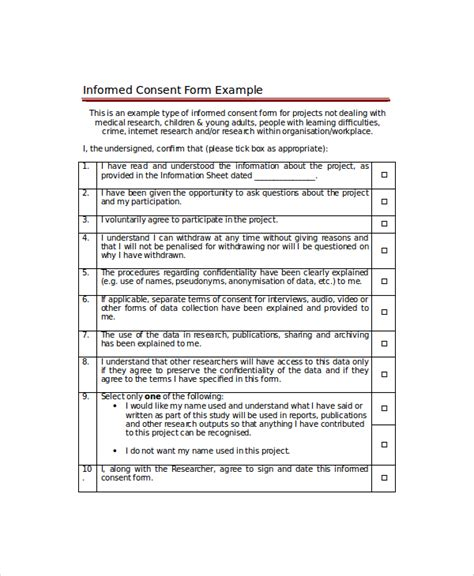 format informed consent sle consent form 8 exles in word pdf