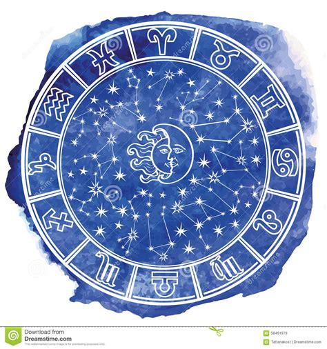 Löwe Sternzeichen Stein 5988 by Zodiac Sign In Horoscope Circle Blue Watercolor Stock