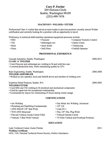 Resume Skills Welder Welding Resume Sle Lake Tech S Career Center