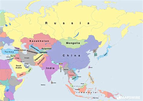 map of asai free political maps of asia mapswire