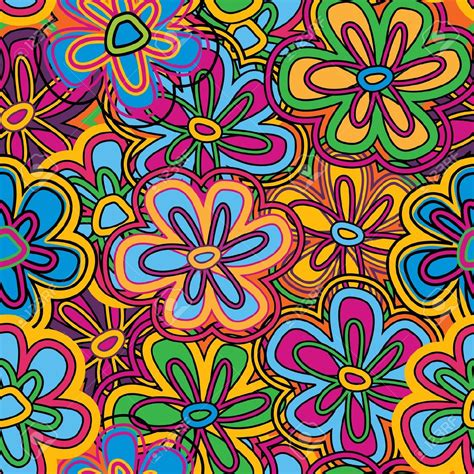 hippie vector pattern 9492473 bright vector seamless texture with vivid flowers