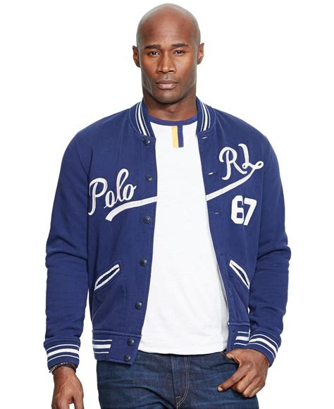 Jaket Basball Merah Putih Polos 1 lyst polo ralph big baseball jacket in blue for