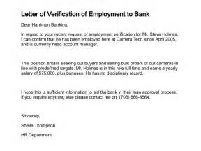 Employee Introduction Letter To Bank For Loan Letter Of Verification Of Employment Free Printable Documents