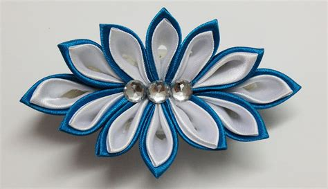 imagenes de flores en kanzashi how to make kanzashi flower hairclip kanzashi tutorial diy